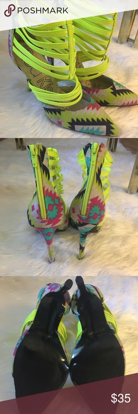 Aztec Print Caged D'Orsay High Heels 👠👗🌈 Brand new without box. Red Kiss Girl aztec print caged high heels. Neon yellow, pink, light blue and cream. Never worn. Size 10. No trades. Thanks for looking! Red Kiss Girl Shoes Heels
