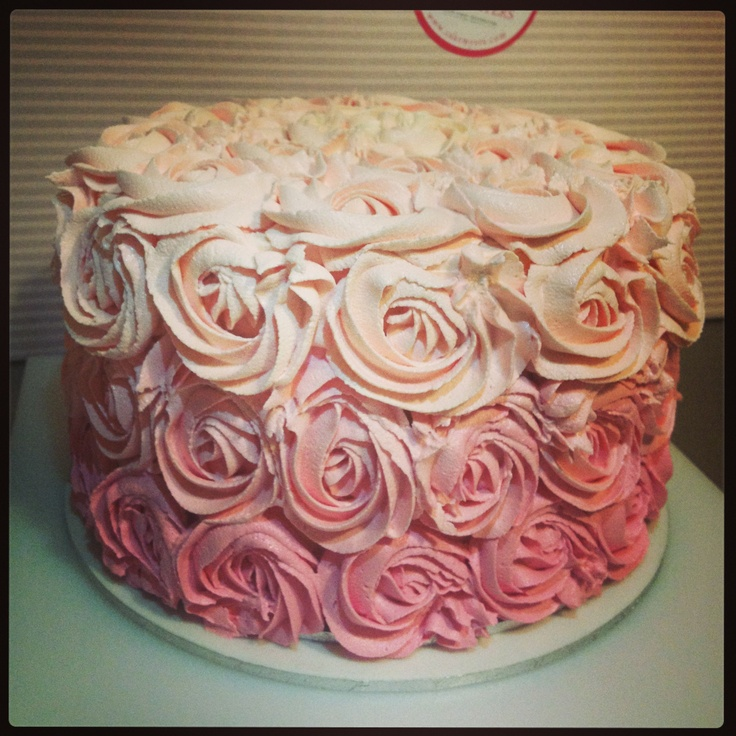 Cake Decorated With Piped Roses : Pink ombre buttercream rose piped cake My Cakes Pinterest