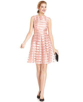 London Times Sleeveless Striped A Line Dress