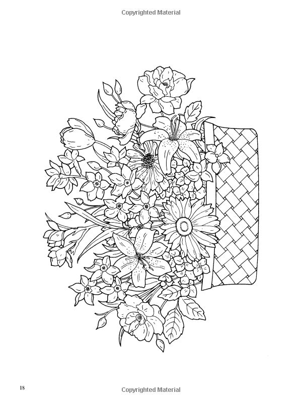 Dover Publications Floral Beauty Coloring Book artwork by