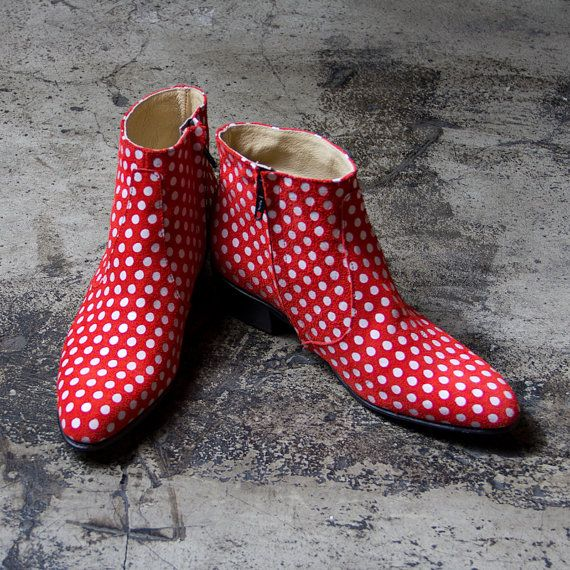 white polka dots with red beatle boots   FREE by goodbyefolk, $280.00