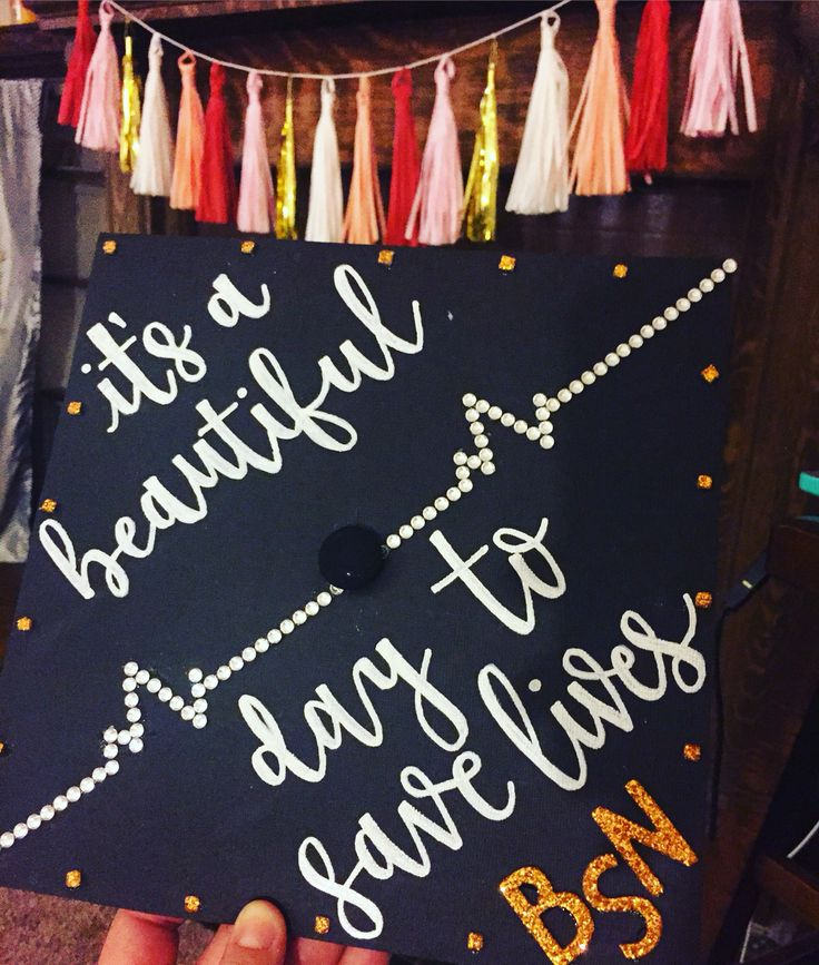 "Grey's Anatomy inspired graduation cap  ""It's a beautiful day to save lives"" - Derek Shepherd"