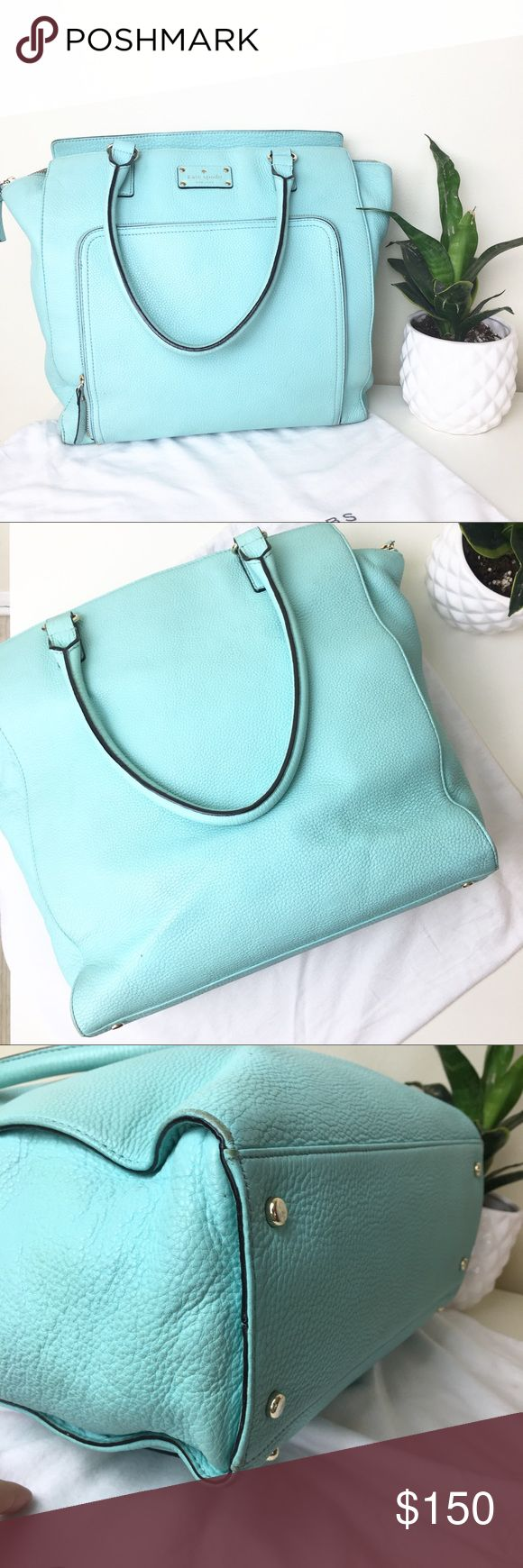 Kate spade baby blue/ mint purse I love this bag! Perfect fun color for summer! I use it for around 6 months as a diaper bag. shows normal signs of wear/corners and a faint marker spot in the inside Other than that it's en great condition very clean!  Reasonable Offers welcome! Open to trade for another purse. kate spade Bags Shoulder Bags