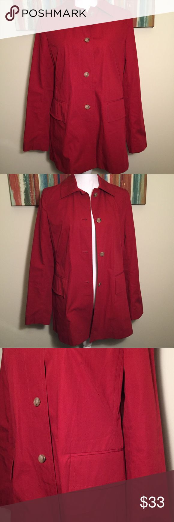 """Banana Republic Button Down Cotton Jacket Medium Banana Republic Button Cotton Jacket  * Brand: Banana Republic * Style: Long Sleeve Jacket * Size: Medium * Color: Red * Materials: 100% Cotton * Measurements: Chest 19.5"""", Length 30"""" * Features: Collared jacket is perfect for fall days, deep side pockets w/flap closure, stitching details & darting on bust, split back, four button closure, unlined white inner piping * Condition: Never worn, left pocket is still stitched closed. Will dry clean…"""