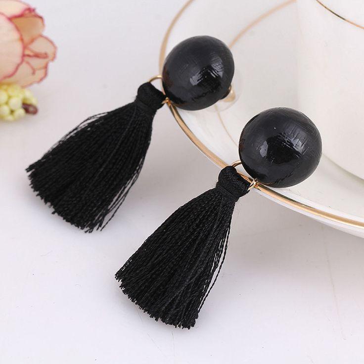 Black Korean Style Women Earring Ear Stud Ball Thread Tassel Drop Dangle Jewelry