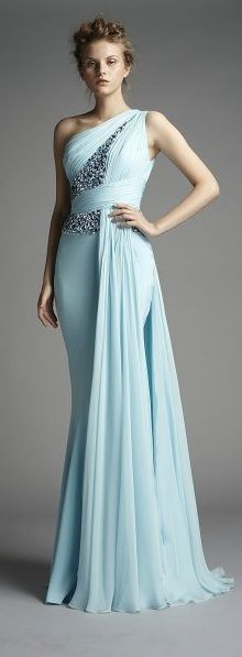 One shoulder dress - cloudy blue teal dress - long dress - formal gown - fitted…