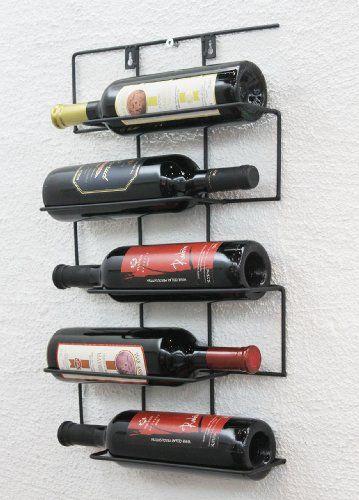 """Casier à vin """"Cinco"""" 53cm HX13615 Métal Porte-bouteilles Porte-bouteilles Etagère murale DanDiBo http://www.amazon.fr/dp/B008DFT4MY/ref=cm_sw_r_pi_dp_inU9wb0AAHQSF"""