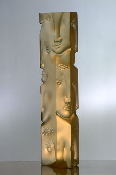 """Gilles Chabrier (French, 1959-), """"Petit totem"""" Glass Sclupture."""