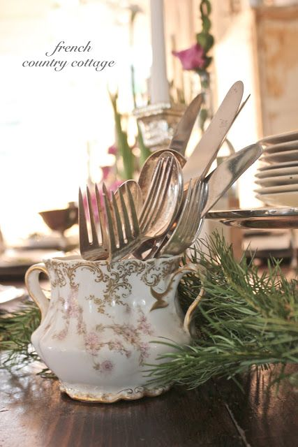 Romantic Holiday Dining -  I have been decking the halls with a lot of natural touches this year.   Fresh greens, pretty whit...