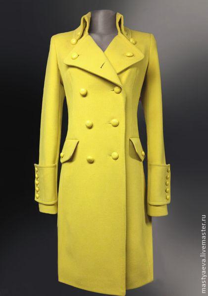 """Пальто """"Цедра"""" - лимонный,однотонный,купить пальто,пальто,женское пальто"""