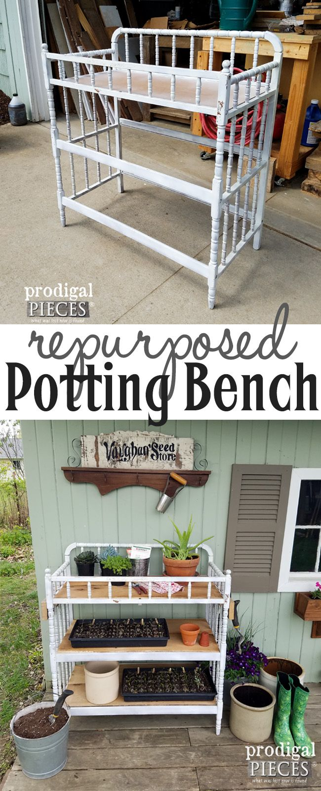 Don't toss your old changing table! Turn it into a repurposed potting bench. Details at Prodigal Pieces | prodigalpieces.com