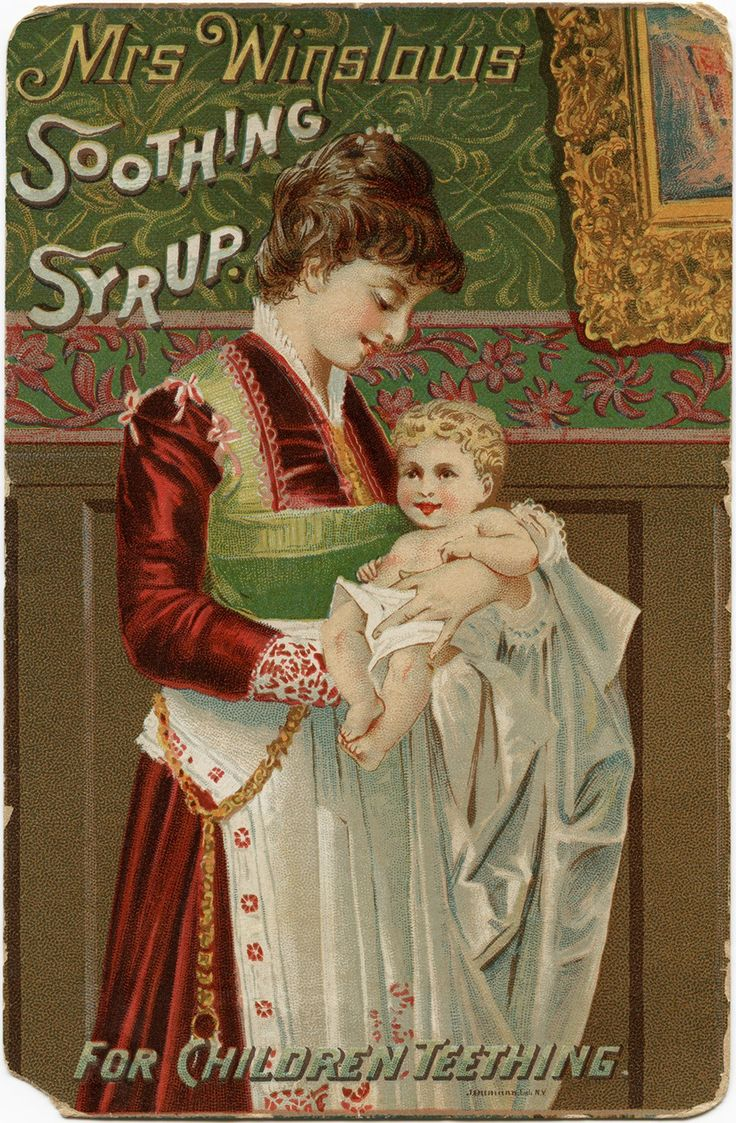 Victorian trading card is an advertisement for Mrs. Winslow's Soothing Syrup, an old remedy for children teething.
