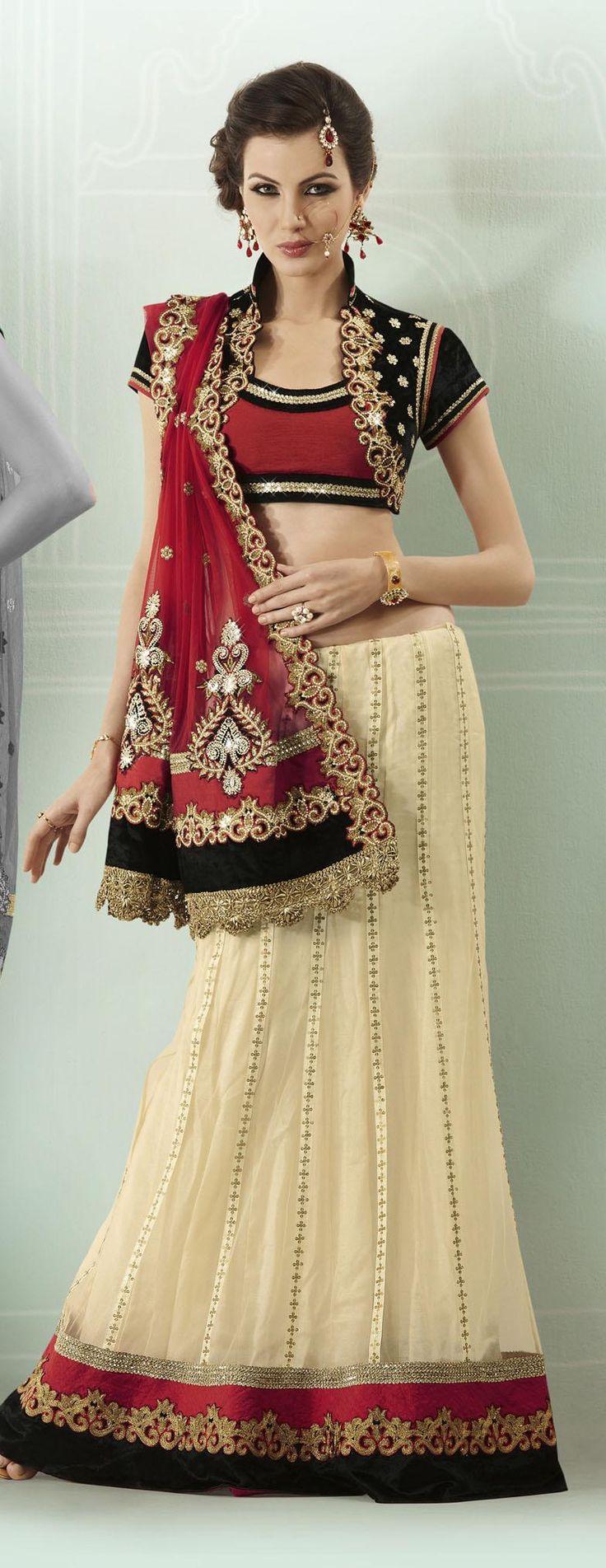 $134.42 Red and Cream Stone Work Net Lehenga Style Saree 22800