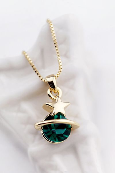 Export Japan, Korea universe Saturn sea green strobe for flood drilled gemstone Crystal necklaces short clavicle chain