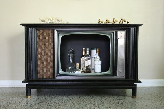 Mid Century Tambour Door Bar Cabinet  RCA TV by RetroTherapyRehab