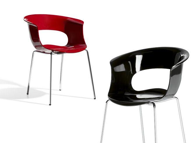 Miss B Chair 4 Leg - Red & Black - Scab Design