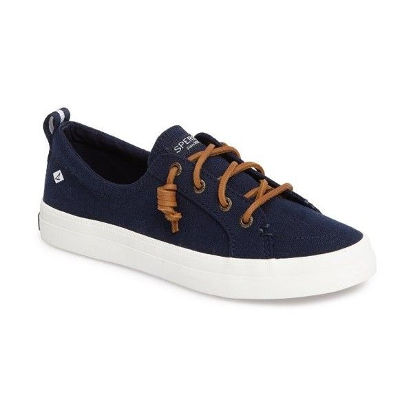 Women's Sperry Crest Vibe Sneaker ($60) ❤ liked on Polyvore featuring shoes, sneakers, navy leather, nautical shoes, navy shoes, sperry, low profile sneakers and genuine leather shoes