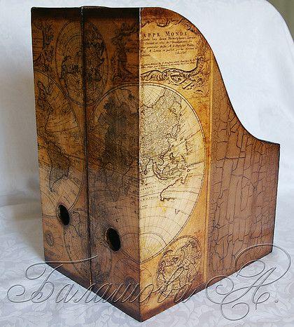 """Журнальницы """"Большое путешествие"""" - подарок мужчине,журнальница,старые карты"""