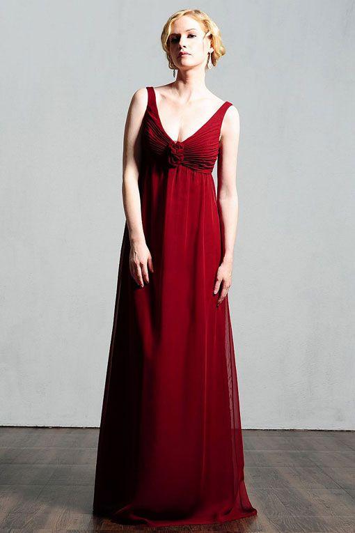 V-neck chiffon bridesmaid dress with empire waist