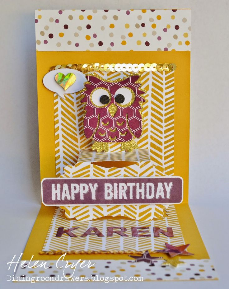 The Dining Room Drawers: Karen Burniston's Poppy the Owl Pop It Ups / Stampin' Up Birthday Card