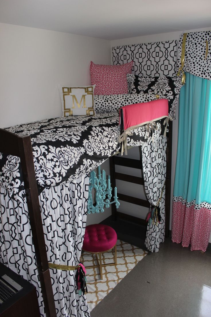Ole Miss Dorm Room : Black Gold Tiffany Pink Dorm Room | Sorority and Dorm Room Bedding - Dorm Bunked Bed