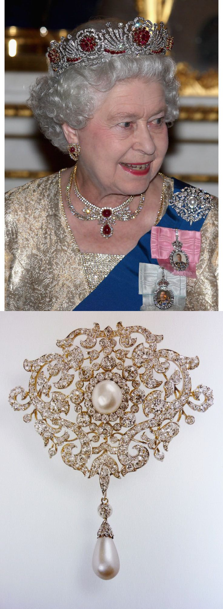 The Richmond Brooch. A present from the town of Richmond for her 1893 wedding to the future King George V, Queen Mary's Richmond Brooch is a large piece made from diamonds set in silver and gold in a scrolling design surrounding a central pearl, with a pearl and diamond pendant hanging below. The central pearl and pearl pendant are detachable more pendants can be added, the whole brooch can be used as a pendant. The Queen inherited the brooch when Queen Mary died in 1953.