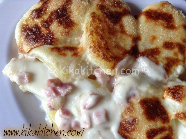 Patate gratinate con prosciutto e besciamella | Kikakitchen