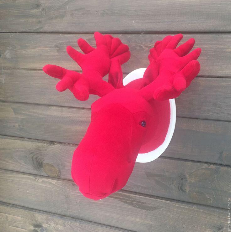 Купить Декоративная голова лося - ярко-красный, голова оленя, чучело, декор для интерьера
