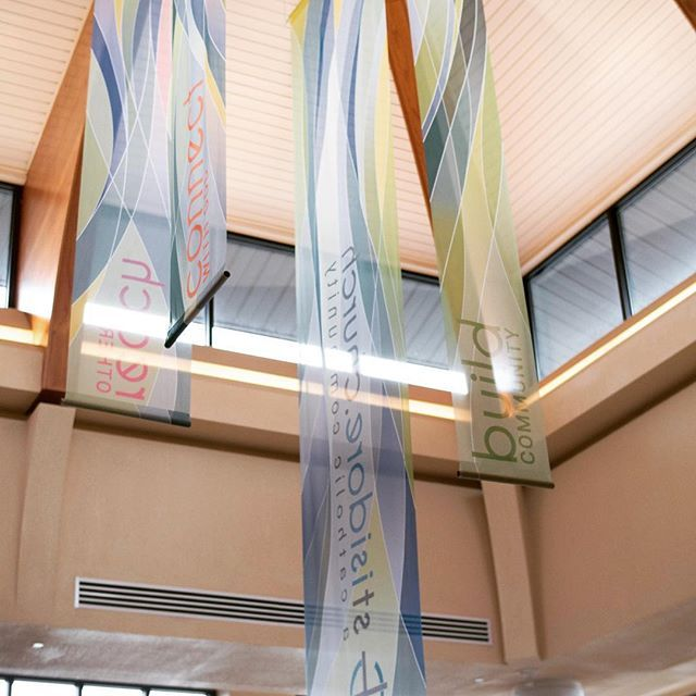 Custom designed translucent printed banners for St  Isidore