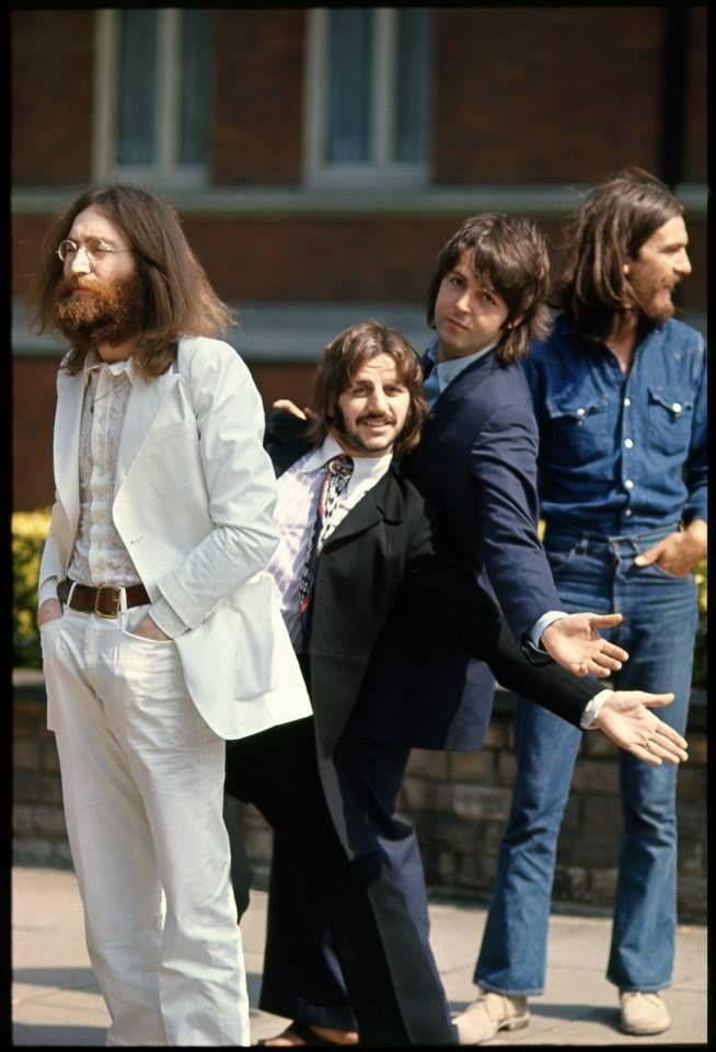 John Lennon, Richard Starkey, Paul McCartney, and George Harrison (The Beatles, Abbey Road, London © 1969 Paul McCartney / Photographer: Linda McCartney)