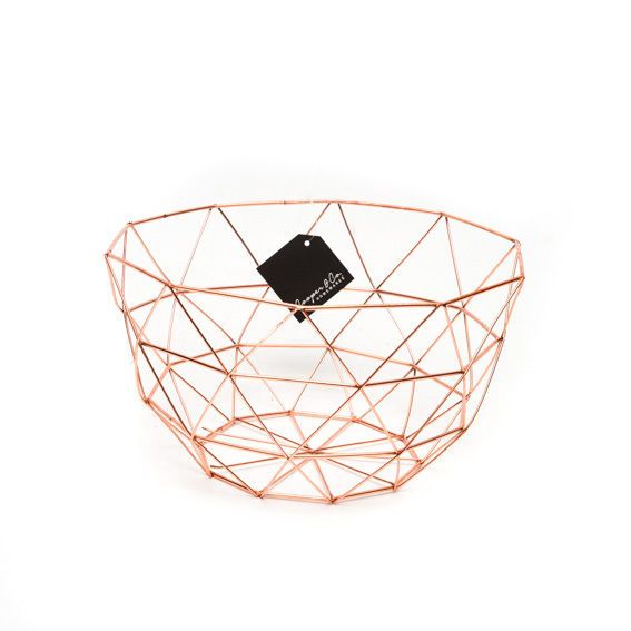 metal round fruit basket copper rose gold homewares kitken new basket plastic canvas. Black Bedroom Furniture Sets. Home Design Ideas