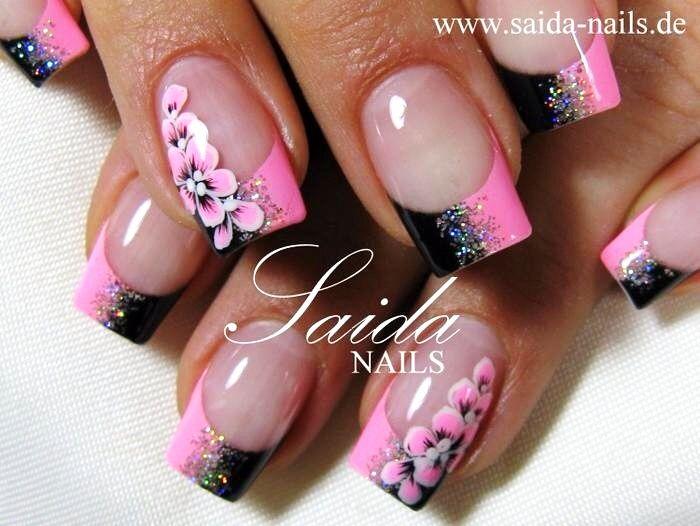 Cute pink & black nail art design
