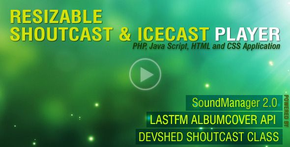 PHP-Javascript Shoutcast and Icecast V3.0 . Important: First Try to create your LastFM API Key before Purchasing This.Please check your radio Server with Online Radio Test before any Purchasing.Important:Online Radio Test may shows other player, if your radio server works there, it will also works with this player because core classes for