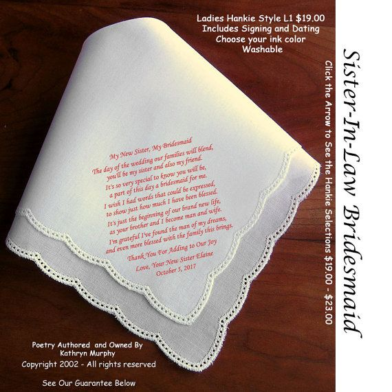 Wedding Gift For Sister Pinterest : Sister in Law Bridesmaid Gift Hankie 1202~ 5 Wedding Hankie Styles ...