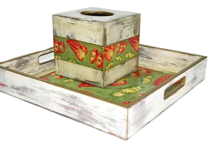 tissue box  serving tray  by Lne's Artwork