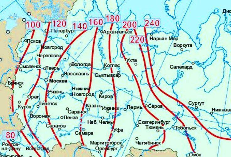 карта глубин промерзания