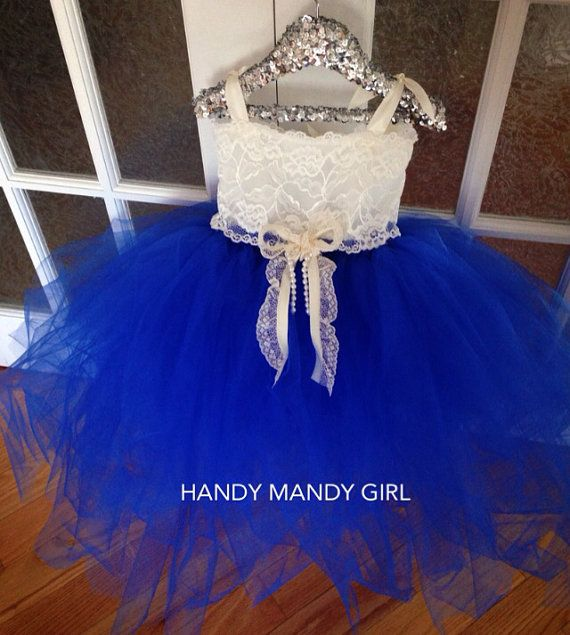The Diana dress-royal blue tutu skirt and Ivory by HandyMandyGirl