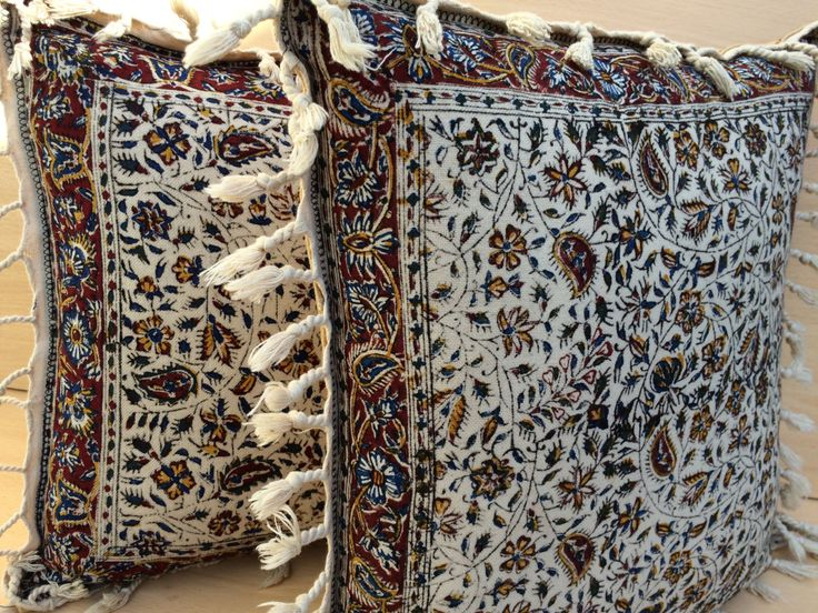 Pair of Decorative pillow cover with traditional floral print at the front natural cotton and dyes On the backside plain natural cotton with the envelope (Velcro) closure.  DETAILS: * 100% natural fabric * Hand block printed * Rich organic natural dyes * Traditional methods * Cold water machine was