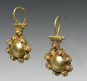 Ancient Roman Gold Earrings, ca. 1st century BC to 1st century AD.