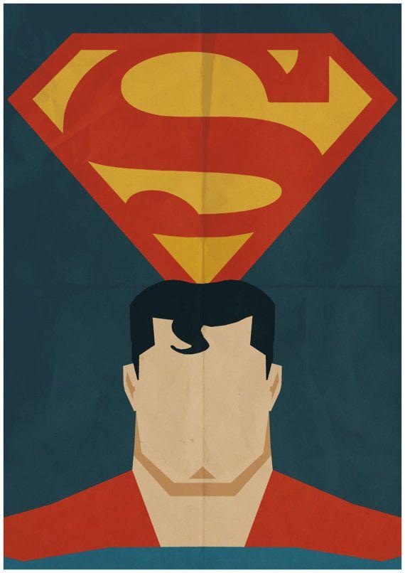 superman minimalist retro poster movie poster art print poster size 117 inches