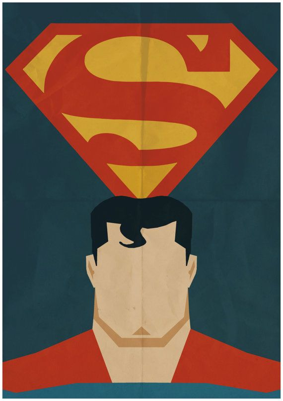 Superman - Minimalist Retro Poster, Movie Poster, Art Print    Poster Size: 11.7 inches X 16.5 inches    Printed on high quality, A3 220gm Textured