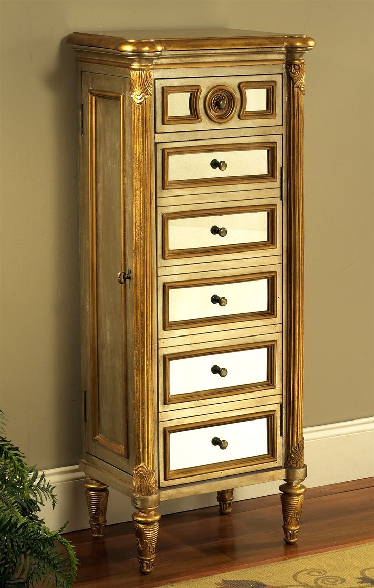 Savoy Tall Jewelry Armoire W Mirror Panel Front Amp Gold