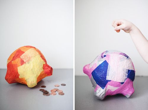Paper mache piggy bank paper mache faye bridgwater for How to make a simple piggy bank