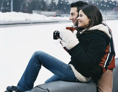 "Date Night: Go ICE SKATING: Depending on the weather, head to an indoor or outdoor ice-skating rink — it's the perfect excuse to hold hands, ""accidentally"" fall on top of each other, and grab a cup of hot chocolate and cozy up to each other to keep warm."