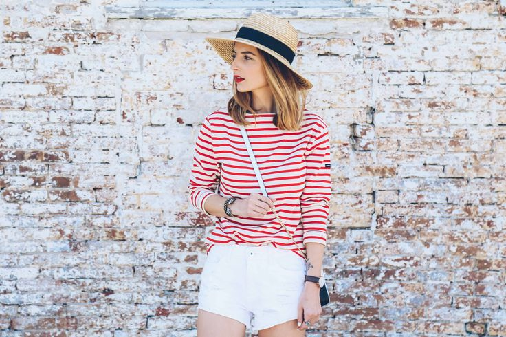 saint james striped tee, dl1961 ivy shorts, whiten jean shorts, straw panama hat