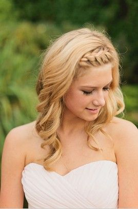 i really like the simple braid and curls-brides maid hair