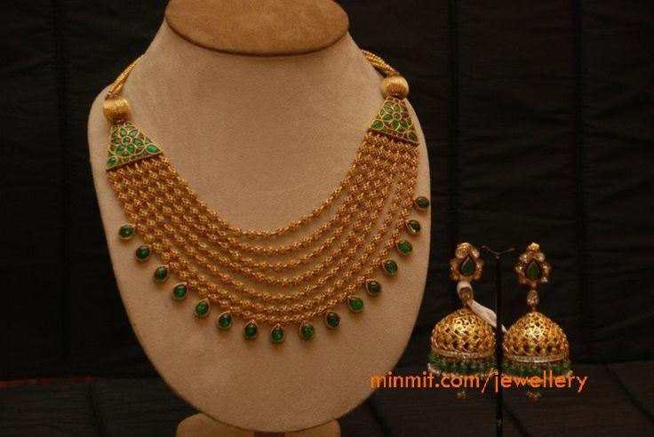 gold_beads_multi_layer_emerald_necklace_amrapali