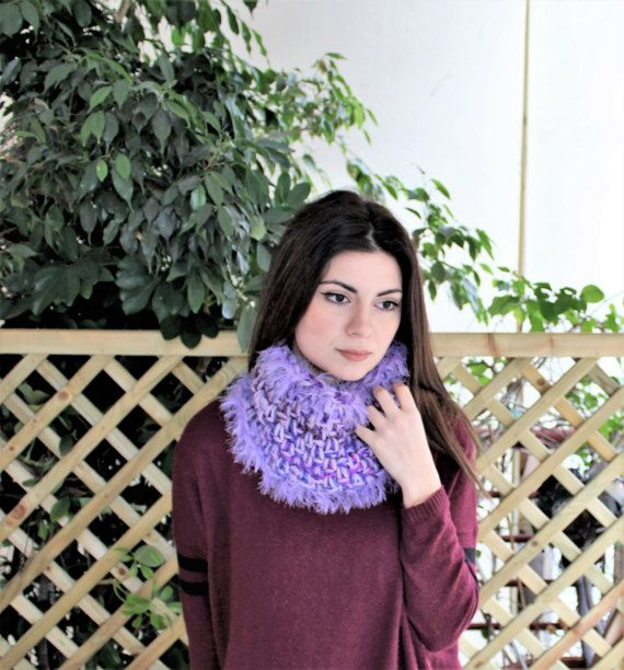 Crochet cowl scarf with fringe Circle neck warmer by MariliartbyM