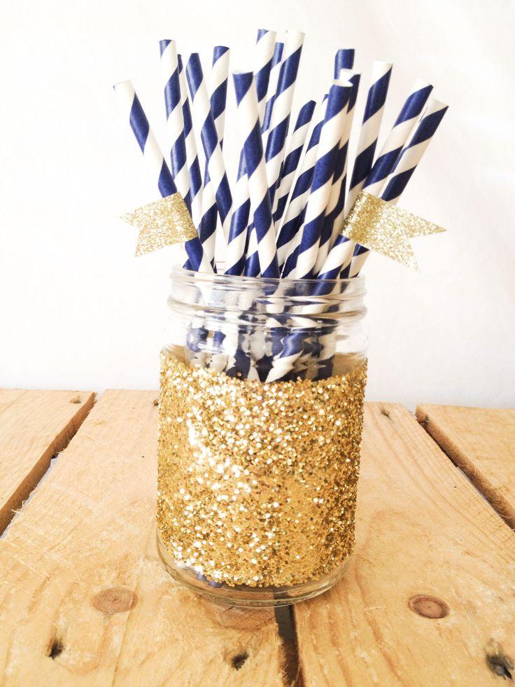 Sneak Peek: Stock the Bar Party, DIY Glittery , gold, navy, paper straws, gold flags