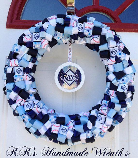 Tampa Bay Rays Ribbon Wreath by KKsHandmadeWreaths on Etsy, $30.00